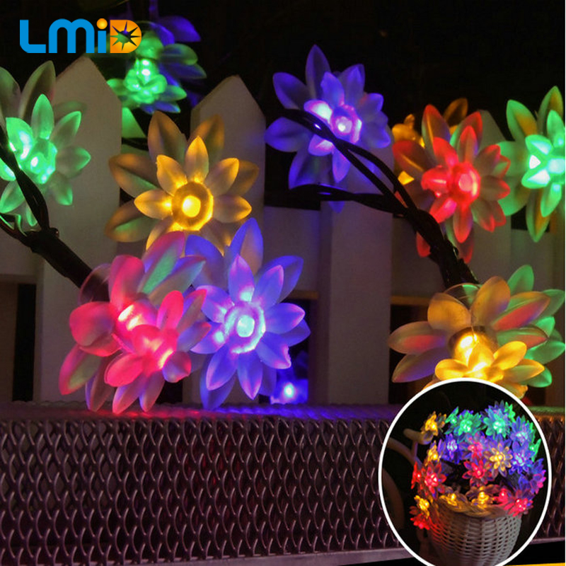 Lmid 4 8m 15 7ft 20leds lotus flower solar lamp garden for 57in led lighted peacock outdoor christmas decoration