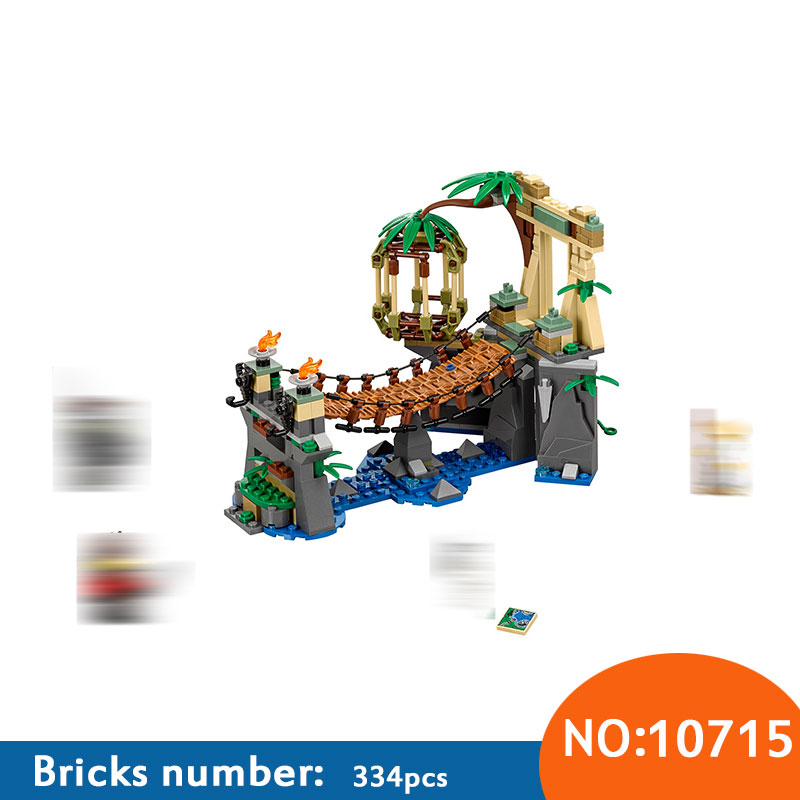 New 334pcs Bela 10715 Ninja Master Falls Jungle Tree Bridge Model Building Blocks Children Assemble Toys Bricks Compatible 70608