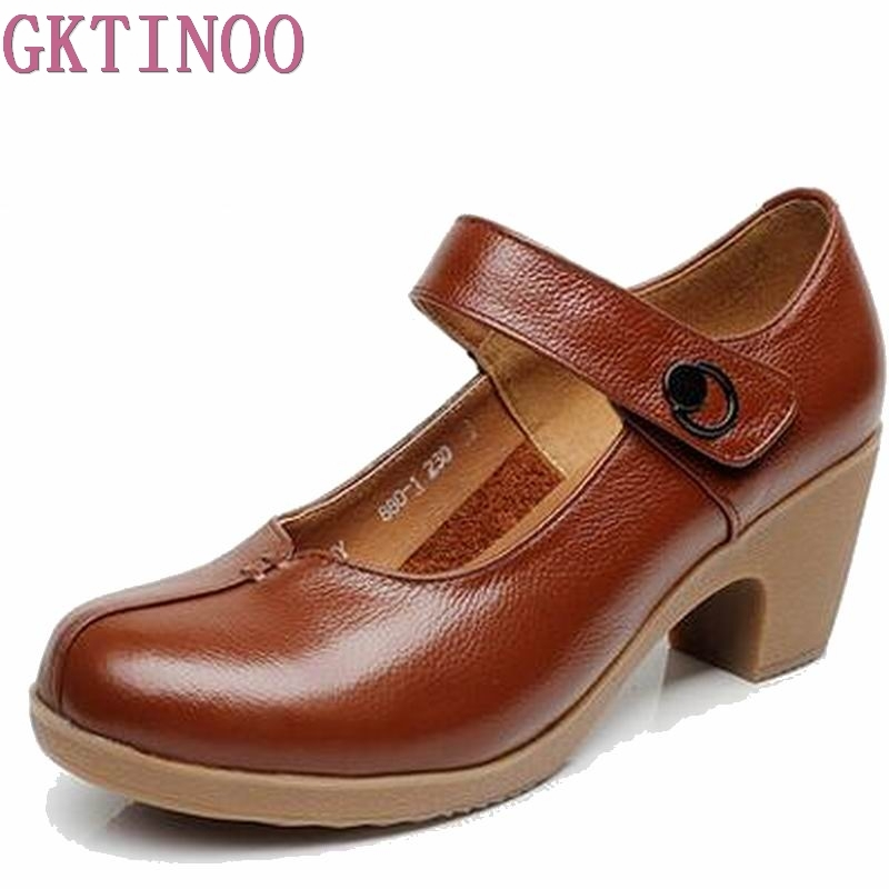 Spring Autumn Shoes Woman 100% Genuine Leather Women Pumps Lady Leather Round Toe Platform Shallow Mouth Shoes Size 32-42 HY1425 hot temperament mature black genuine leather printing womens alphabet retro shoes shallow mouth embossed leather pumps