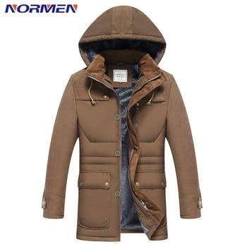 NORMEN Men's Fashion Hooded Parkas for -15 Fleece Winter Jacket Men Solid Casual Streetwear Warn Padded Winter Overcoat