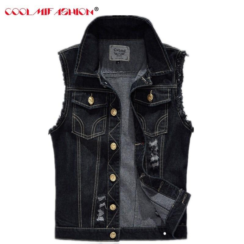 Men's Jeans Vest Single Breasted Jeans Vest for Men casaco masculino Vintage DeJeans Sleeveless Jacket Men Hole Ripped Cow Boy