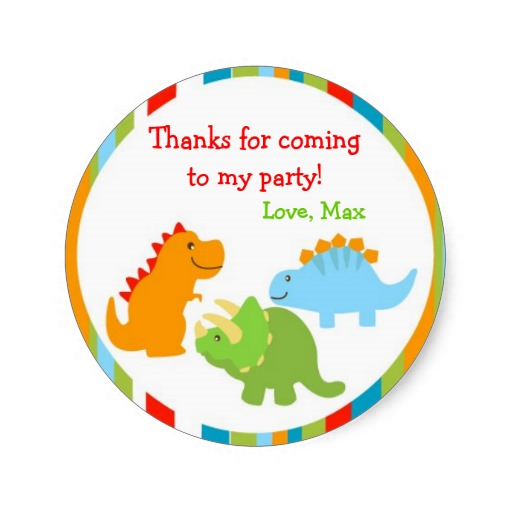 3 8cm dinosaurs dino favor stickers labels seals kids