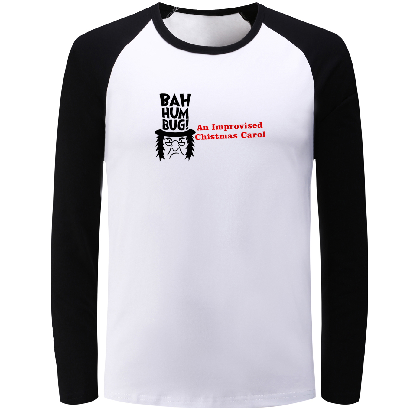 Idzn Мода реглан футболка с длинными рукавами Бах Вздор импровизированный Рождество Кэро ...