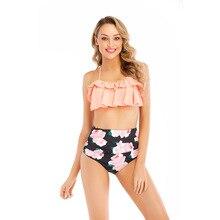 цена на Sexy Floral Printed Bikini 2019 High Waisted Bikini Halter Swimsuit Padded Swimwear Beach Swimsuit Brazilian Bathing Suit Playa