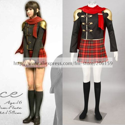 Anime Final Fantasy Type-0 Deuce Cosplay Costume With Cloak Women Halloween  Party Clothes Dress