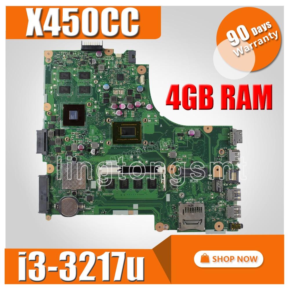 X450CC Motherboard i3 3217u 2G video memory 4G RAM rev2 3 For ASUS X450CC Laptop motherboard