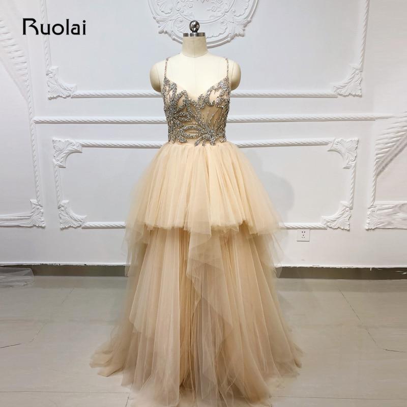 Sparkly   Evening     Dress   Long V Neck Top Rhinestone Beaded Prom   Dress   2019 Fluffy Champagne   Evening   Gown Vestido de Noche SN20
