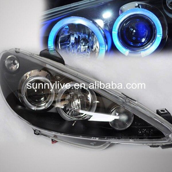 Hoofd Lamp Voor Peugeot 206 LED Angel Eye Koplamp 1998 2004 jaar SN ...
