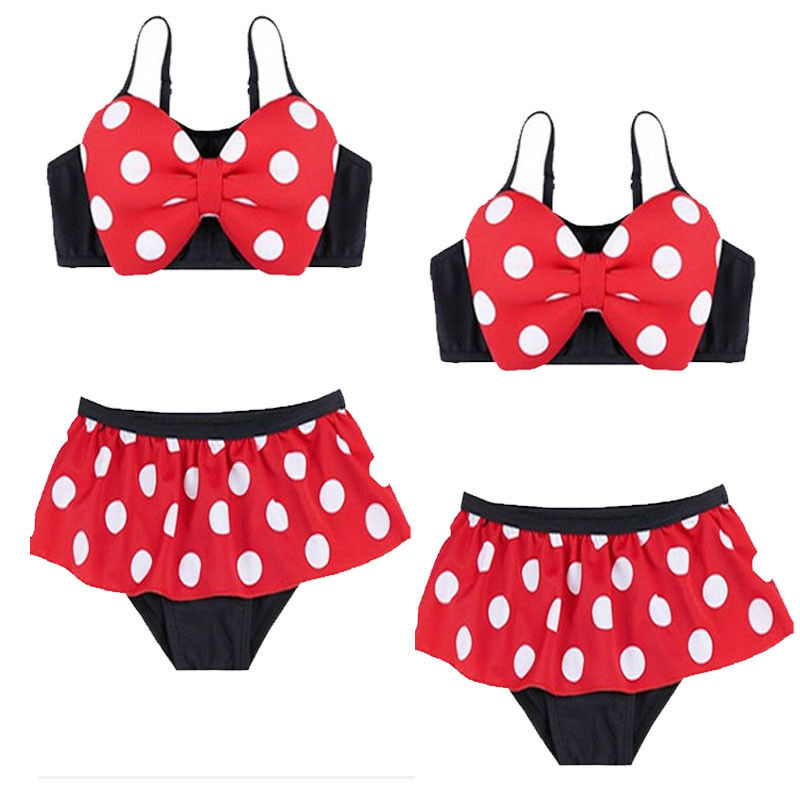 Minnie Mouse Kids Girls 2017 Baby Girl two-piece Kids Bathing Suit Swimwear Dot Bikini Set Tankini Swimsuit Costume