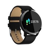 جديد Q8 OLED بلوتوث ساعة ذكية جلدية يمكن ارتداؤها ضد الماء جهاز الدم معدل ضربات القلب بلوتوث ساعة ذكية للهاتف IOS أندرويد
