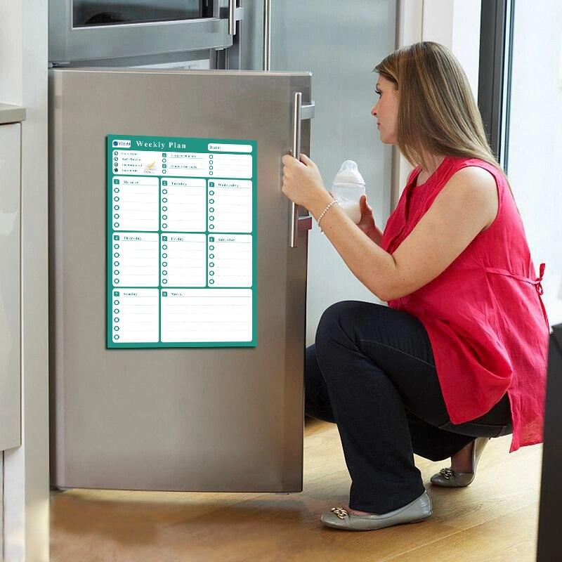YIBAI 42*30 cm Plan semanal pizarra magnética, borrado en seco para el hogar refrigerador 4 colores disponibles UV impresión láser