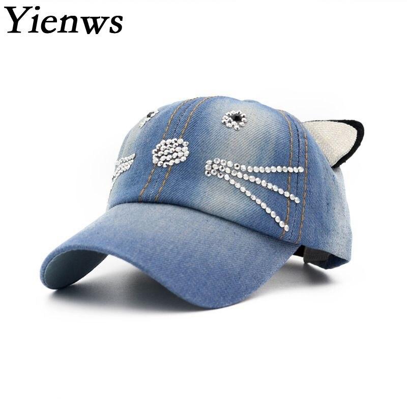 Prix pour Yienws Strass Jeans Casquette de baseball Pour Fille Soleil D'été Chapeau Kawaii Chat Os Cow-boy chapeau Enfants Plat Bord Casquette de baseball YIC505