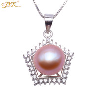JYX 2019 Super star Sterling 925 Silver Pendant 10mm Near round Purple Lavender Freshwater Pearl Pendant Necklace for women