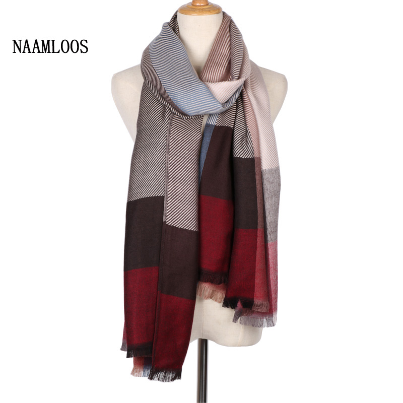 2017 New Pattern Autumn Winter Women   Scarf   Plaid Luxury Brand Long Cashmere Warm   Scarves     Wraps   Cake Small Tassel Pashmina   Scarf