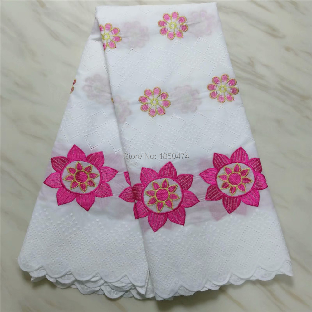 Cheap White Hollow Out African Dry Lace Fabric 2019 High Quality Cotton Lace Rose Red Flower