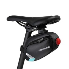 Waterproof Bicycle Bag Tail Seatpost Pouch Saddle Bags with Lamp Light Pocket MTB Bike Rear Cycling Seat
