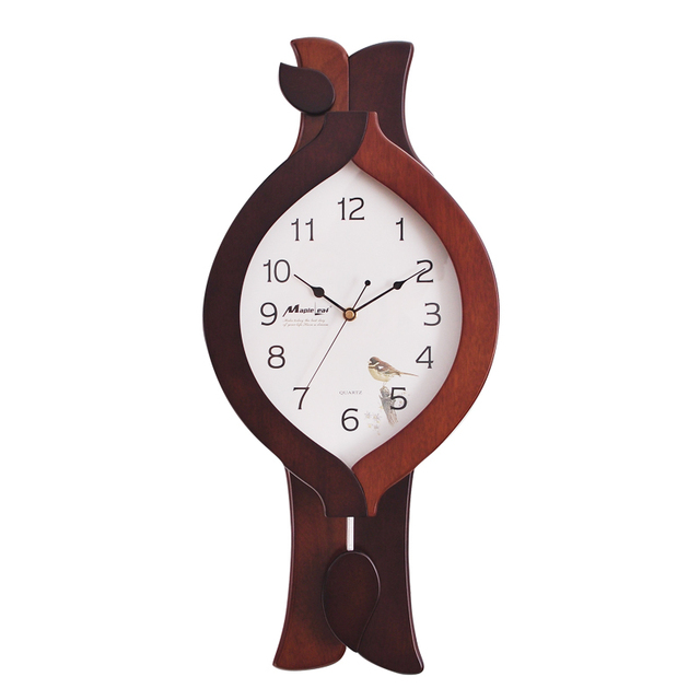 2015 New European Brown Wood Wall Clock Creative Fashion Design Modern Swing 10 In Bedroom