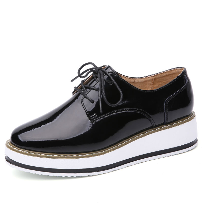2af9aca9cb9 EOFK Brand Spring Women Platform Shoes Woman Brogue Patent Leather Flats  Lace Up Footwear Female Flat Oxford Shoes For Women-in Women's Flats from  Shoes on ...