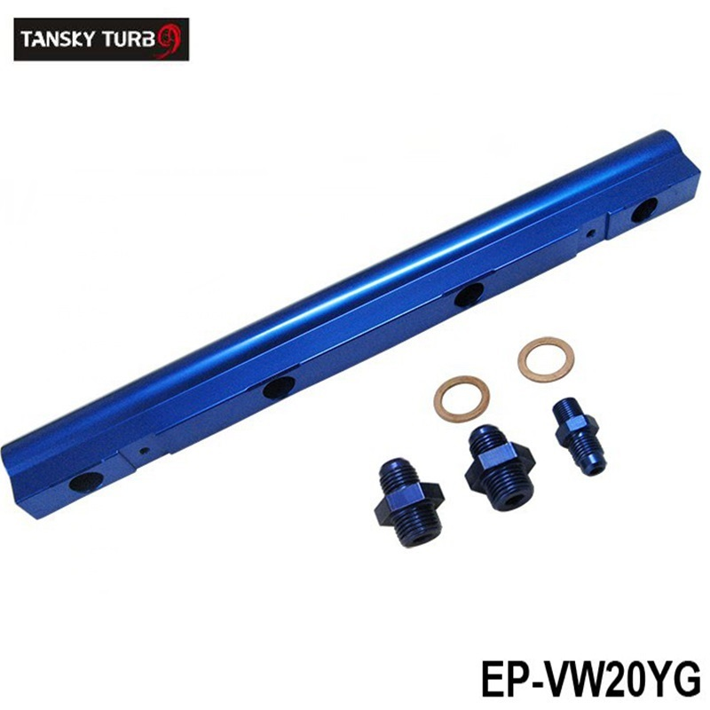 EPMAN Racing Store TANSKY - For VW Audi 20V 1.8T Turbo Aluminium Billet Top Feed Injector Fuel Rail Turbo Kit Blue High Quality EP-VW20YG