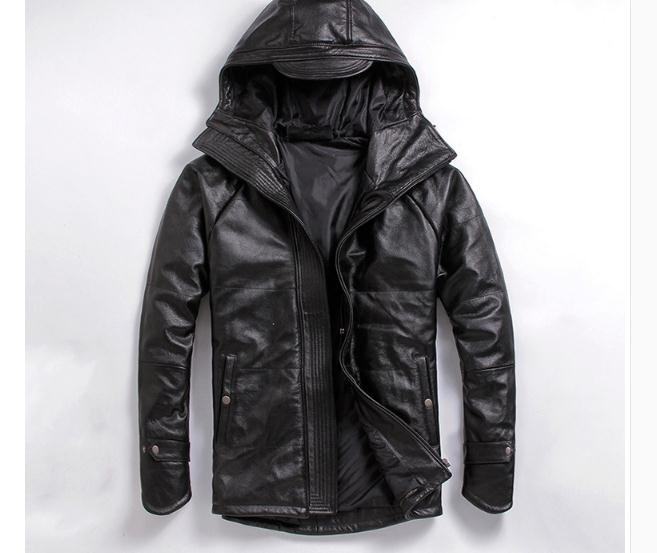 Free shipping EMS top genuine leather jacket winter thicker warm coat motorcycle plus size clothing man