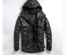 EMS верхняя куртка из натуральной кожи, зимнее толстое теплое пальто. мотоциклетная одежда больших размеров. Мужские куртки из воловьей кожи, распродажа