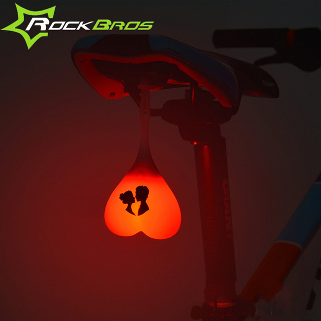Rockbros Bicycle Light Cycling Bike Rear Light Taillight Egg Bicycle Accessories Back Heart Light Signal Warning Waterproof Mtb