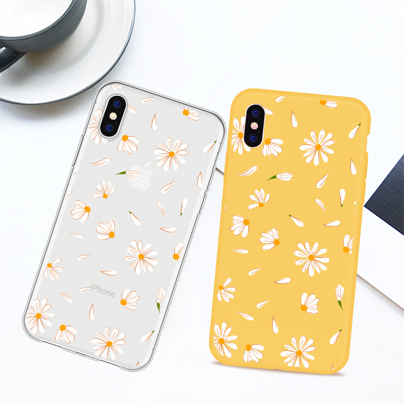 Cute Luxury Daisy Phone Case For iPhone 7 8 XR XS MAX 6 6S Plus Soft silicone Transparent Phone Case For iPhone 8 7 Plus 5 5S SE in Fitted Cases from Cellphones Telecommunications