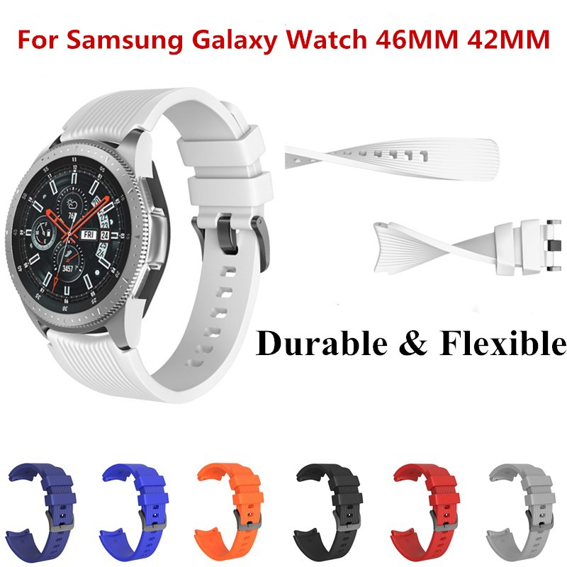22MM 20MM Rubber Watch Band for Samsung Galaxy Smart Watch 46MM 42MM Silicone Replacement Wristband Strap for AMAZFIT Watch аксессуар ремешок samsung galaxy watch 42mm silicone silver et ysu81msegru