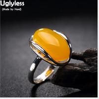 Uglyless Real S925 Sterling Silver Natural Chalcedony Opening Ring Yellow Gems Finger Rings Women Handmade Jewelry Hollow Bijoux