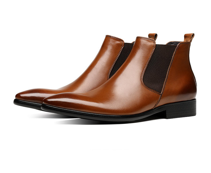 Brown Pointed Toe Chelsea Boots Mens