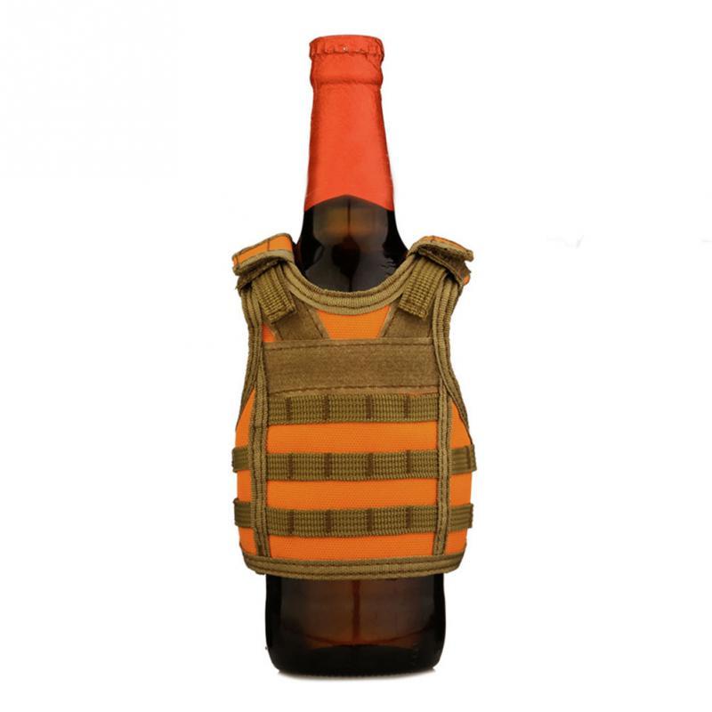 Beer Vest Mini Tactic Military Vest For Beer Bottle Miniature Wine Bottle Cover Vest Beverage Cooler Camping Hiking Accessories Volume Large Camping & Hiking