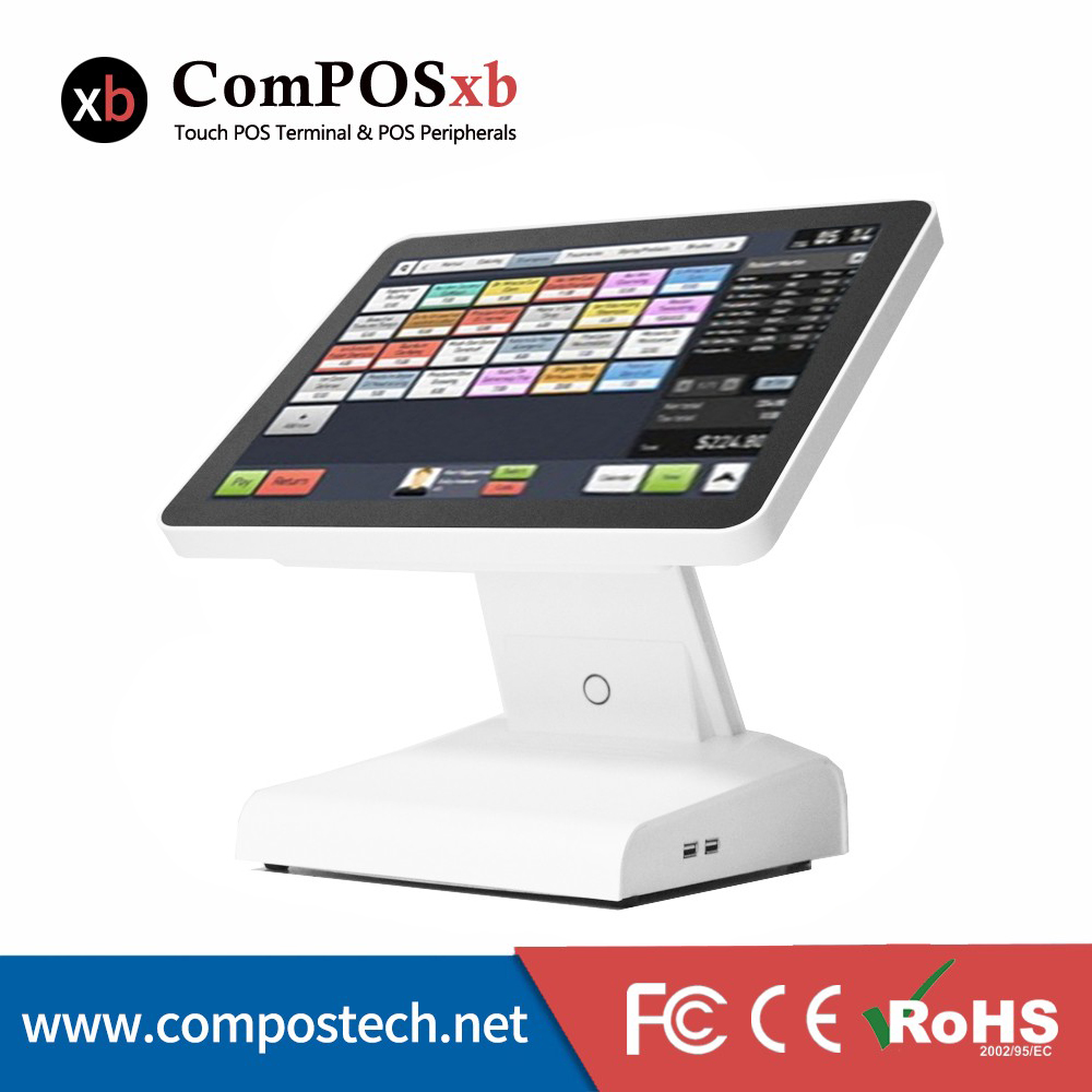 free shipping Discount POS 15 inch touch cash register computer all in the same PC with VFD Customer display new stock cheap pos system 15 inch capacitive multi touch screen cash register restaurant with english vfd customer display