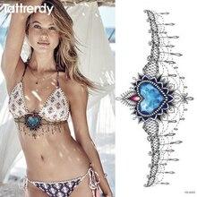 1pc Hot Chest Tattoo Sticker Under Breast Big Flower Shoulder Arm Sternum Tattoos Body Paint Diamond Ocean Star Sapphire Girls