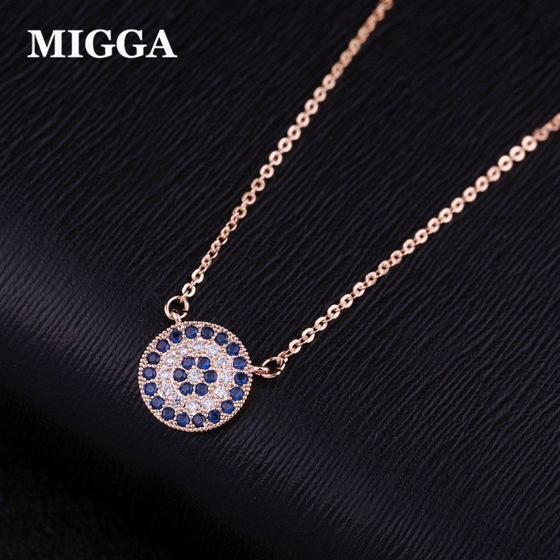 MIGGA Blue Cubic Zircon Crystal Evil Eye Pendant Necklace Short Clavicle Chain Women Choker Accessories