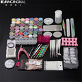 Pro Full Nail Art Set Acrylic Powder Stripe Hexagon Glitter Finger Separator Cuticle Nipper Buffer Block Manicure Decal Tool Kit