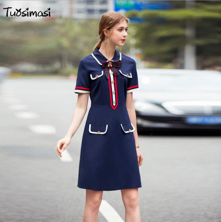 2018 spring summer bloue bow short sleeve slim line A dresses( UL057)