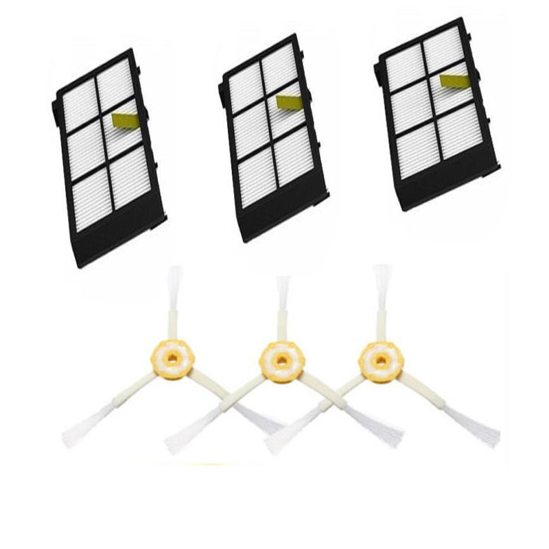 3 pack Hepa Filters & 3 armed side brush for iRobot Roomba 800 series 880 870 filters