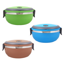 Stainless Steel Thermos Thermal Lunch Box Portable Kid Adult Round Bento Boxs Leakproof Food Container Box With Handle