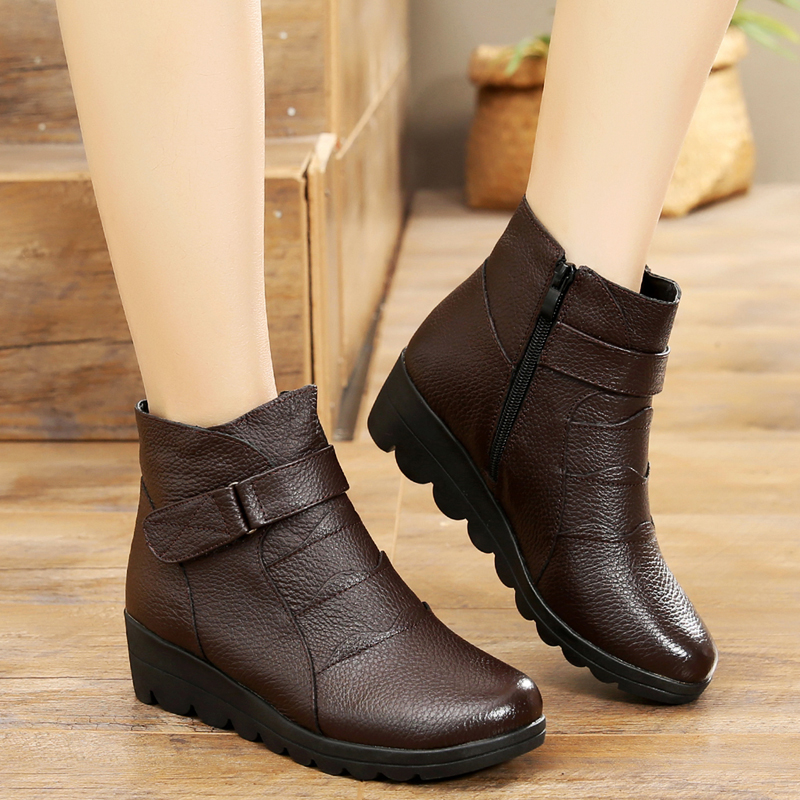 2018 New Woman Brand Snow Boots  Woman Zip Genuine Leather Boots Cotton-padded Winter Shoes Warm Antiskid Plus Size Autumn Boots