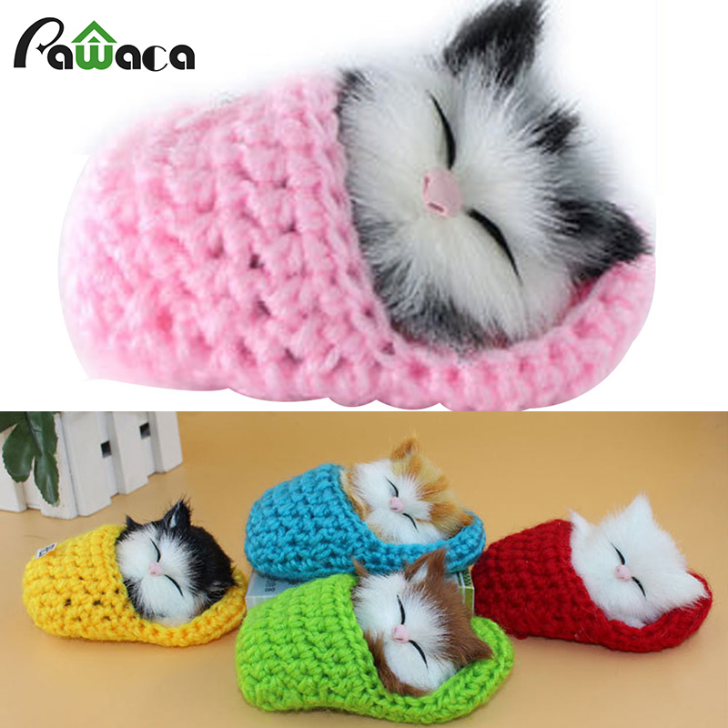 Decoration Crafts Kawaii Slippers Kitten With Cat Voice Simulation Cute Cats Family Animal Figurine Toy Gift Home Accessories