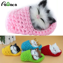Decoration Crafts kawaii Slippers Kitten with Cat Voice Simulation Cute Cats Family Animal figurine toy gift