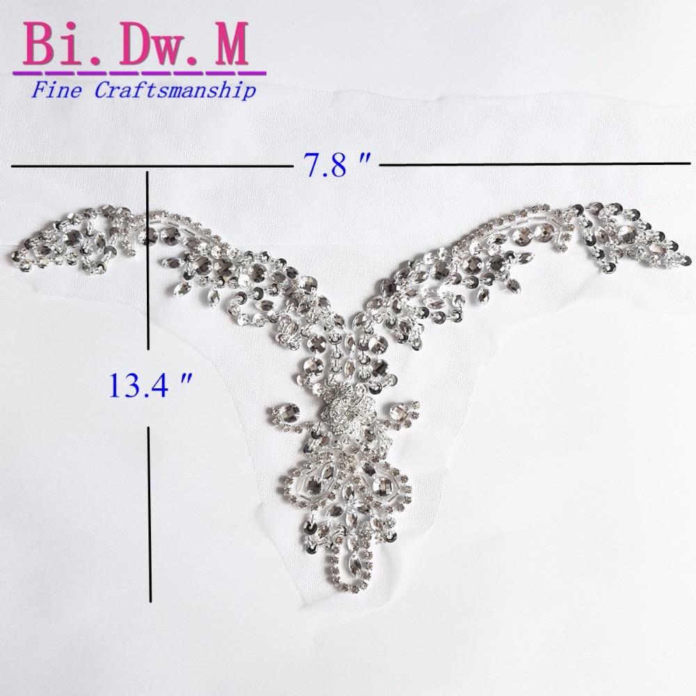 Bi.Dw.M Fine Handicraft Silver Crystal Rhinestone Beaded Sewing Applique Patches 20x34cm For Wedding Decoration Bridal Dresses