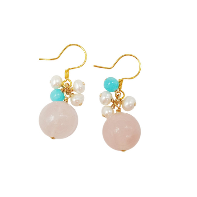 LiiJi Unique Natural Stone Rose quartzs&Amazonite&Freshwater Pearl Beads 925 Sterling Silver Dangle Earring