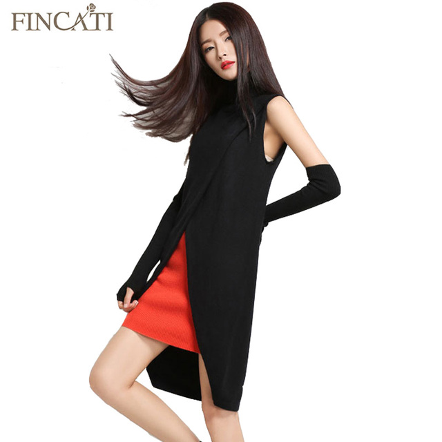 2016 Women s Turtleneck Cashmere Blend Sweater Sleeveless Vest Front Split  Short Dress Fashion Pullovers Soft Knitwear d547bb94becb