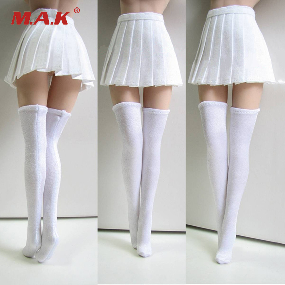 1/6 Scale Girl Students Pleated White Skirt and Stockings Models for 12 Inches Action Figures Bodies Accessories new sexy vs045 1 6 black and white striped sweather stockings shoes clothing set for 12 female bodys dolls