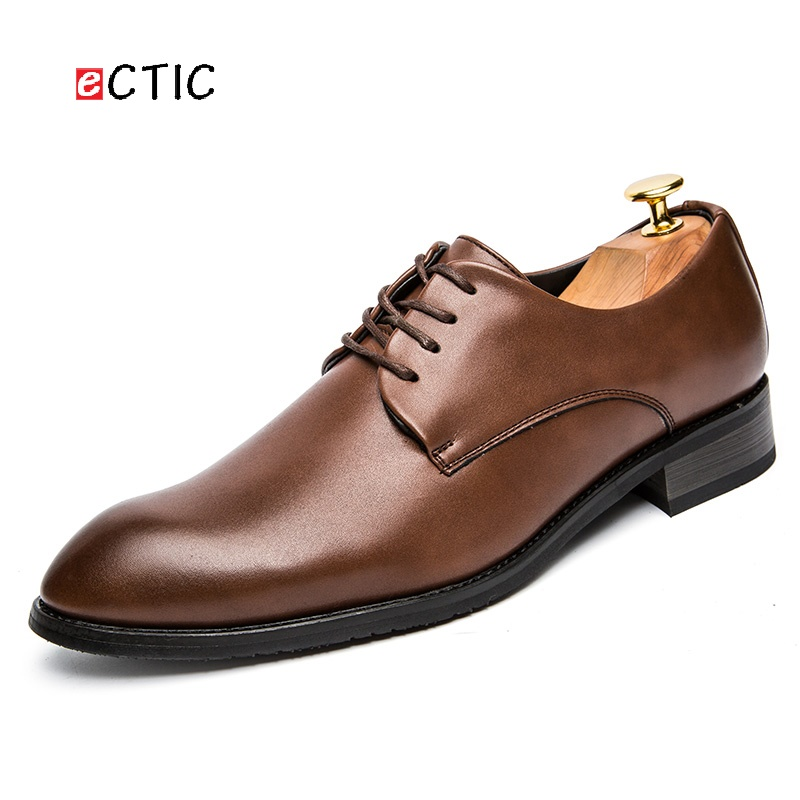 db0b31ee6 ECTIC Office Men Dress Shoes Pointed Toe Leather Formal Shoes Breathable  Business Male Wedding Swag Retro Good Quality