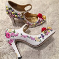 New Vintage Patent Leather Women Pumps Fashion Print Leather Flowers High Heels Rivets Wedding Dress Shoes Woman Single Shoes