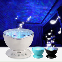 7 Color Starry Sky Led Night Light Ocean Wave Projector Lamp with Music Speaker Remote Control Baby Room Night Lamp Novelty Gift