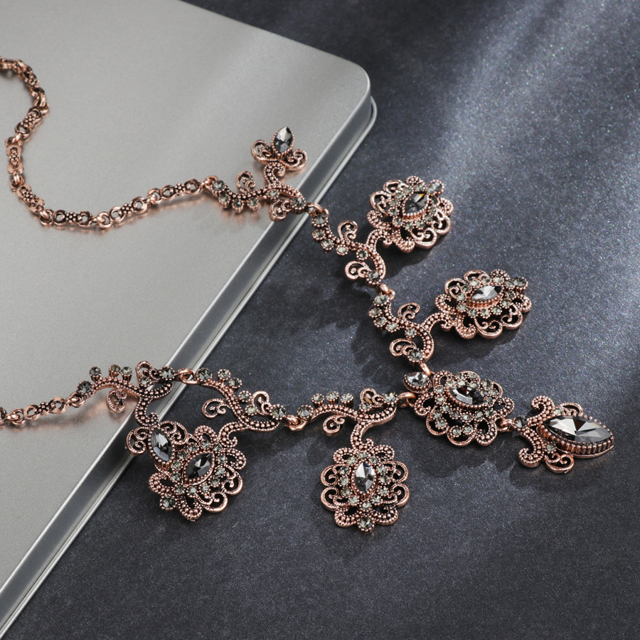 Hot Deal 42c1 Kinel Luxury 4pcs Gray Crystal Flower Bridal