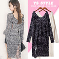 Autumn thin sexy Korean character knitted short long before after wide collar hole worn thin long sleeved sweater